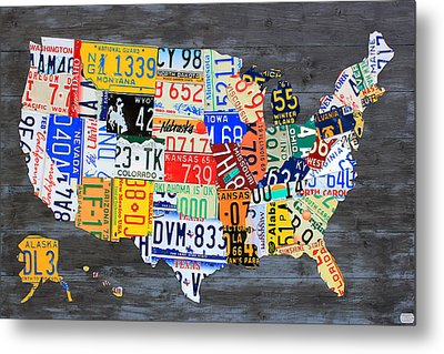 License Plate Map Of The Usa On Gray Distressed Wood Boards Metal Print by Design Turnpike