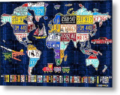 License Plate Map Of The World Travel Recycled Vintage Art With Augustine Quote Metal Print