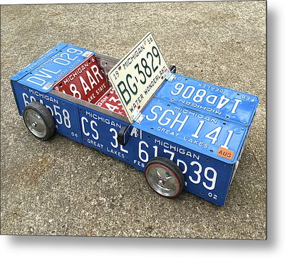 License Plate Vintage Roadster Mobile Made From Recycled Michigan Car Tags Metal Print