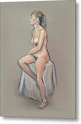 Life Drawing, Colour Pencil Metal Print by Joyce Geleynse