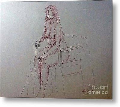 Life Drawing Nude Lady Metal Print