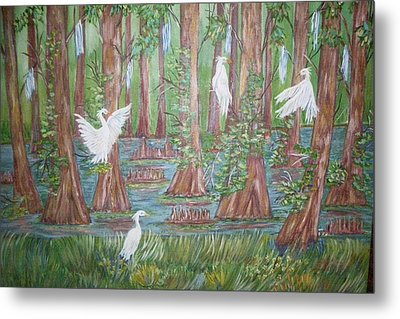 Metal Print featuring the painting Life In The Delta by Belinda Lawson