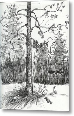 Metal Print featuring the drawing Life In The Forest by Anna  Duyunova
