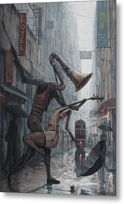 Life Is  Dance In The Rain Metal Print by Adrian Borda