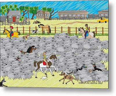 Life On A Sheep Station Metal Print by Diana-Lee Saville