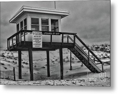 Metal Print featuring the photograph Lifeguard Station 1 In Black And White by Paul Ward