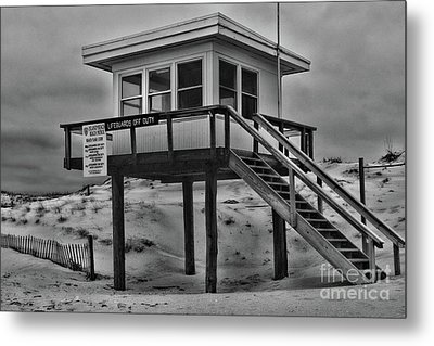Metal Print featuring the photograph Lifeguard Station 2 In Black And White by Paul Ward