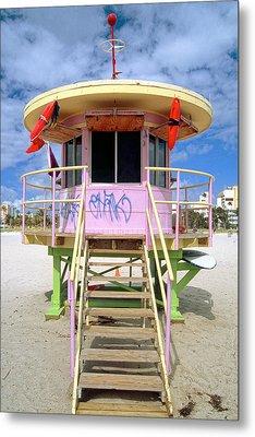 Lifeguard Station South Beach Miami  Florida Metal Print by George Oze