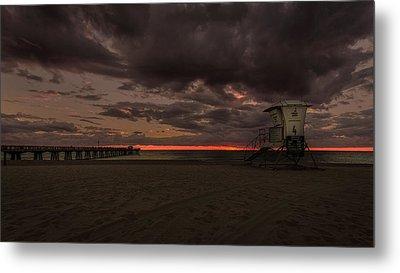 Lifeguard Tower At Sunrise Metal Print