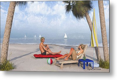 Metal Print featuring the digital art Life's A Beach by Jayne Wilson