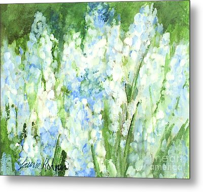 Metal Print featuring the painting Light Blue Grape Hyacinth. by Laurie Rohner