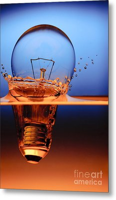 Light Bulb And Splash Water Metal Print