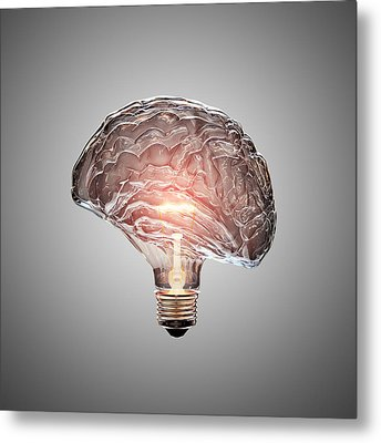 Light Bulb Brain Metal Print