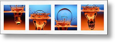 Light Bulb Drop In To The Water Metal Print by Setsiri Silapasuwanchai