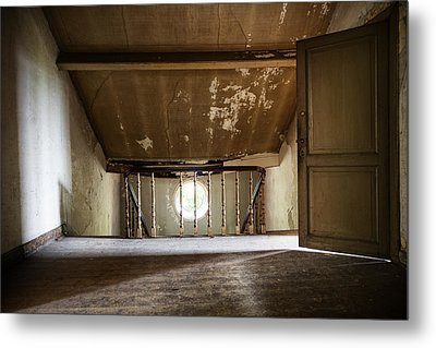 Light From The Spooky Attic - Abandoned Building Metal Print