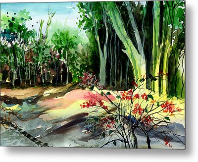 Light In The Woods Metal Print by Anil Nene