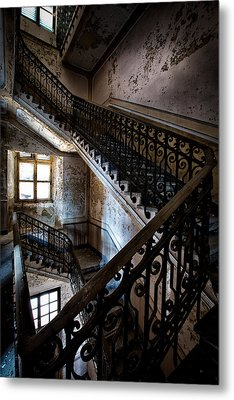 Light On The Stairs - Urban Exploration Metal Print by Dirk Ercken