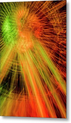 Light Painting At Night Metal Print
