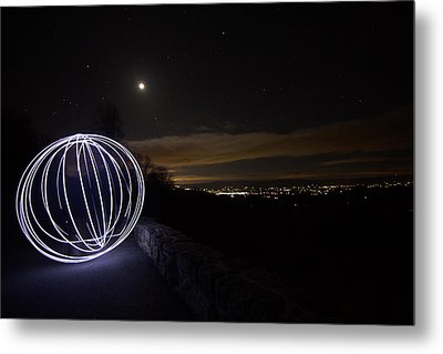 Light Painting On Skyline Drive Metal Print by Shannon Louder