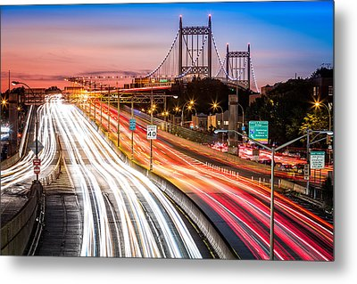 Light Trails On I-278 Near Triboro Bridge Metal Print