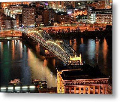 Lighted Bridge Metal Print