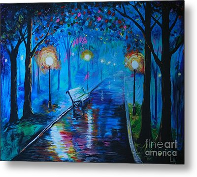 Metal Print featuring the painting Lighted Parkway by Leslie Allen