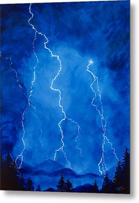 Lightening Storm In The Mountains Metal Print by Lorraine Foster