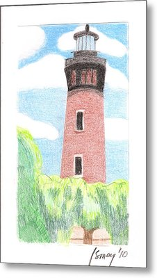 Metal Print featuring the painting Lighthouse 4 by Rod Ismay