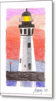 Metal Print featuring the painting Lighthouse 5 by Rod Ismay