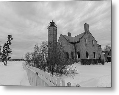 Metal Print featuring the photograph Lighthouse And Mackinac Bridge Winter Black And White  by John McGraw