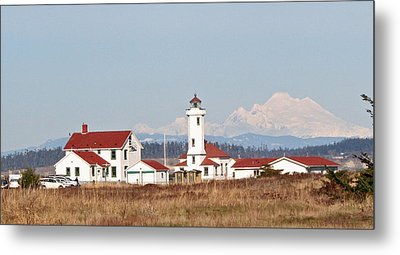 Metal Print featuring the photograph Lighthouse And Mountain by Lynn Bawden