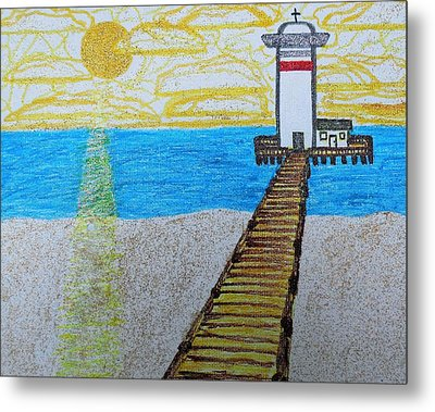 Lighthouse And Yellow Sun Metal Print