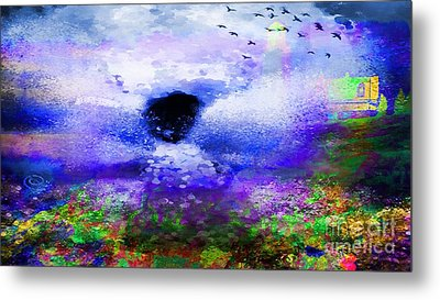 Lighthouse Angel Purple In Hotty Totty Style Metal Print