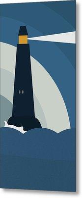 Lighthouse At Night Metal Print by Frank Tschakert