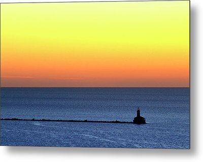 Metal Print featuring the photograph Lighthouse At Sunrise On Lake Michigan by Zawhaus Photography