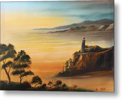 Lighthouse At Sunset Metal Print by Remegio Onia