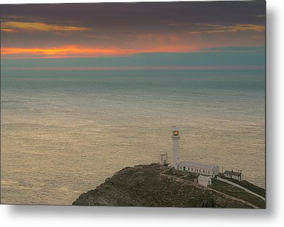 Lighthouse At Sunset,south Stack, Anglesey,north Wales Metal Print by Andy Astbury