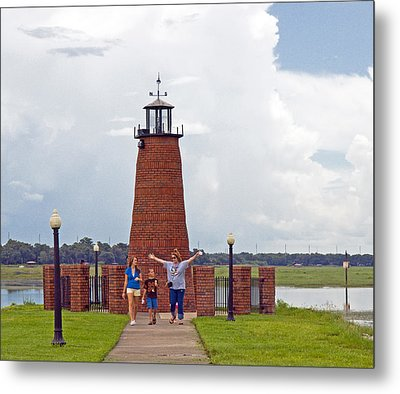 Lighthouse At The Port Of Kissimmee On Lake Tohopekaliga In Central Florida Metal Print by Allan  Hughes