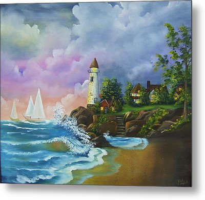 Lighthouse By The Village Metal Print