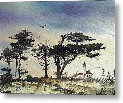 Metal Print featuring the painting Lighthouse Coast by James Williamson
