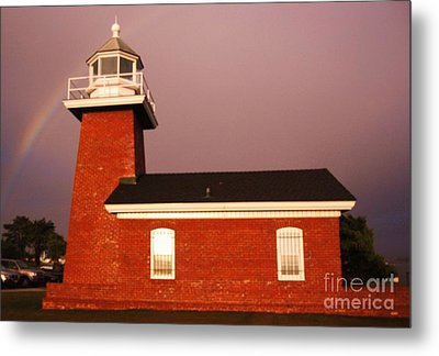 Metal Print featuring the photograph Lighthouse In A Rainbow by Garnett  Jaeger