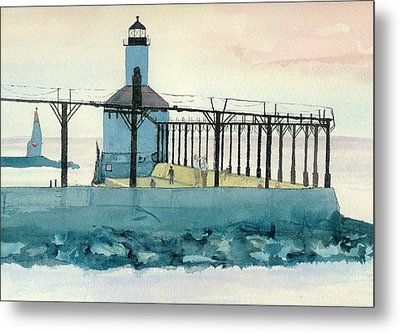 Lighthouse In Michigan City Metal Print
