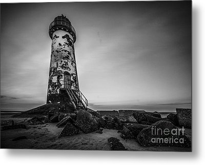 Lighthouse In Mono Metal Print