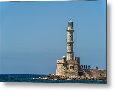 Lighthouse In The Venetian Harbour Metal Print by Dosfotos