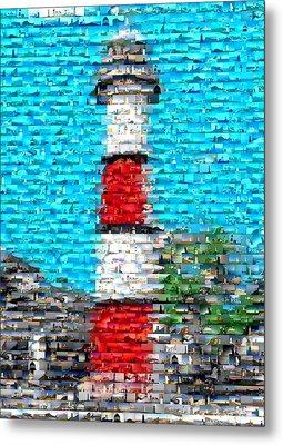 Lighthouse Made Of Lighthouses Mosaic Metal Print by Paul Van Scott