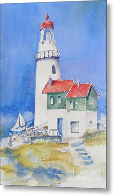 Metal Print featuring the painting Lighthouse by Mary Haley-Rocks