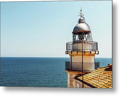 Lighthouse Of Papa Luna Castle In Peniscola, Spain Metal Print