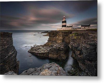 Lighthouse On Cliffs Metal Print by Grzegorz Wanowicz