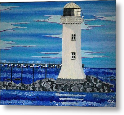 Metal Print featuring the painting Lighthouse On The Shannon by Carolyn Cable