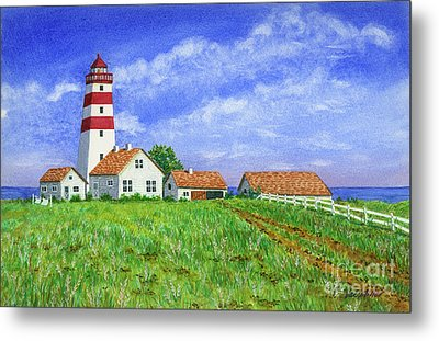 Lighthouse Pasture Metal Print
